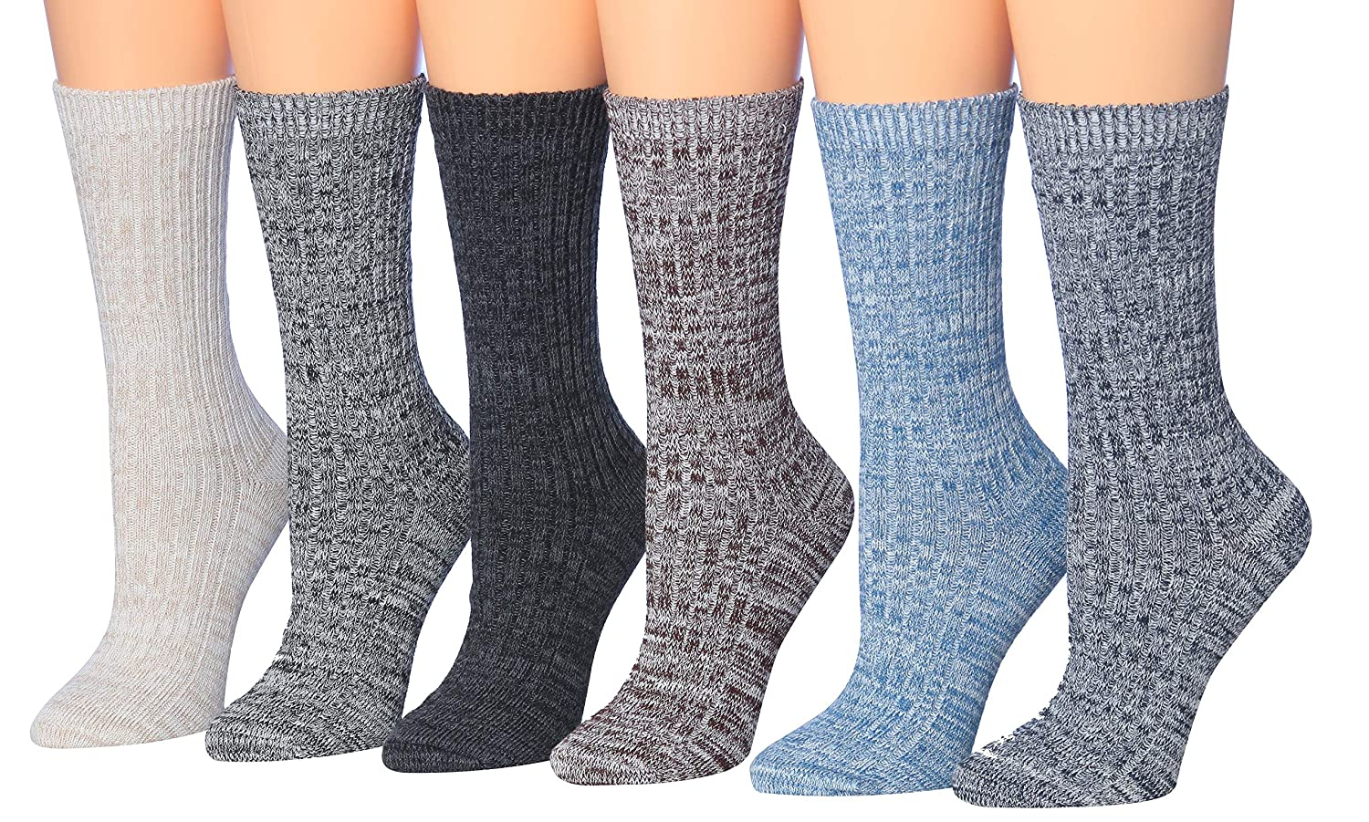 4d7cd6100c Tipi Toe Women's 6-Pack Ragg Cotton Crew Boot Socks, Size 9-11 Fits ...