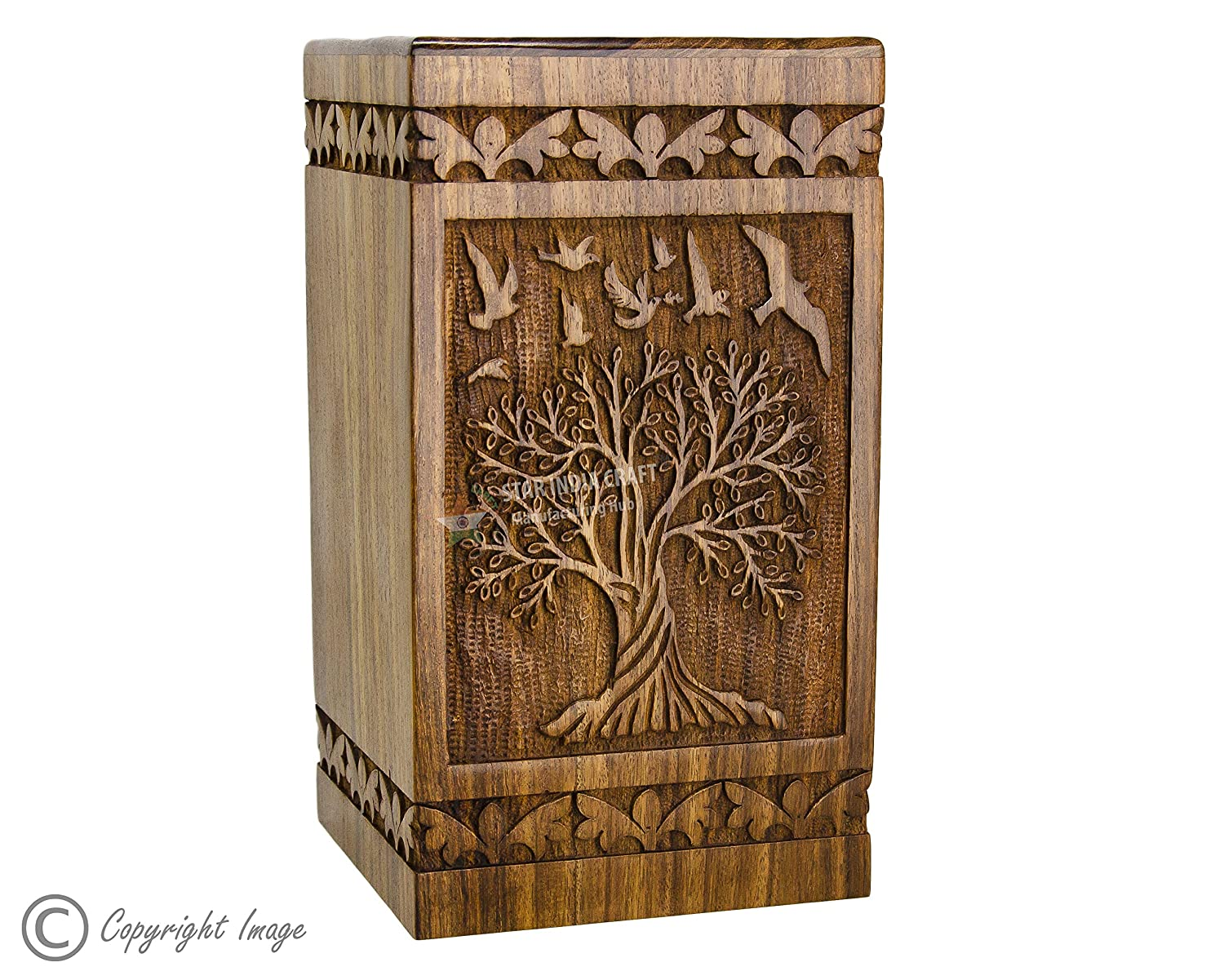 STAR INDIA CRAFT Rosewood Urn for Human Ashes Adult,Tree of Life Wooden Urns for Ashes, Cremation Pet Urns for Dogs Ashes, Wooden Box, Funeral Urn Box Tower 73, 100 Cu in