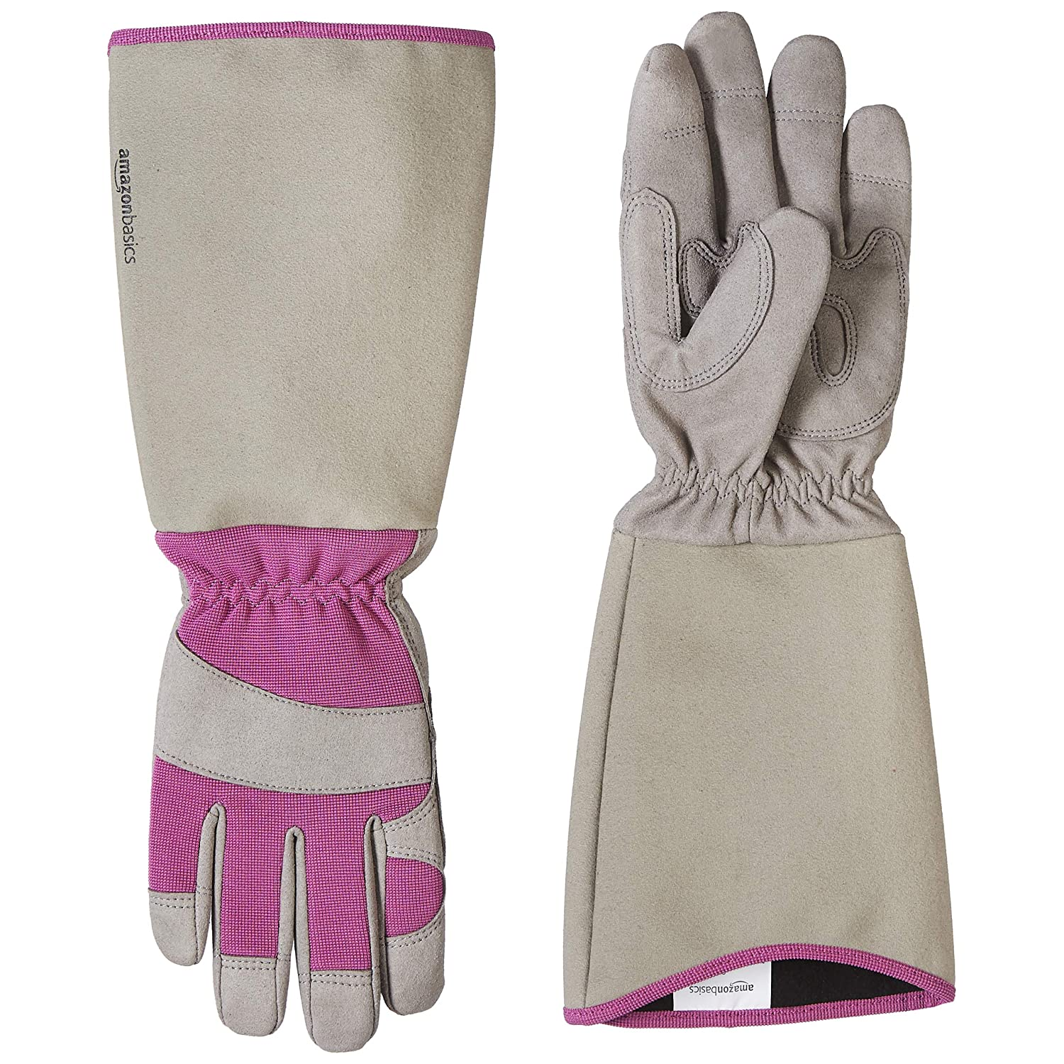 AmazonBasics Rose Pruning Thorn Proof Gardening Gloves with Forearm Protection - Purple, XS