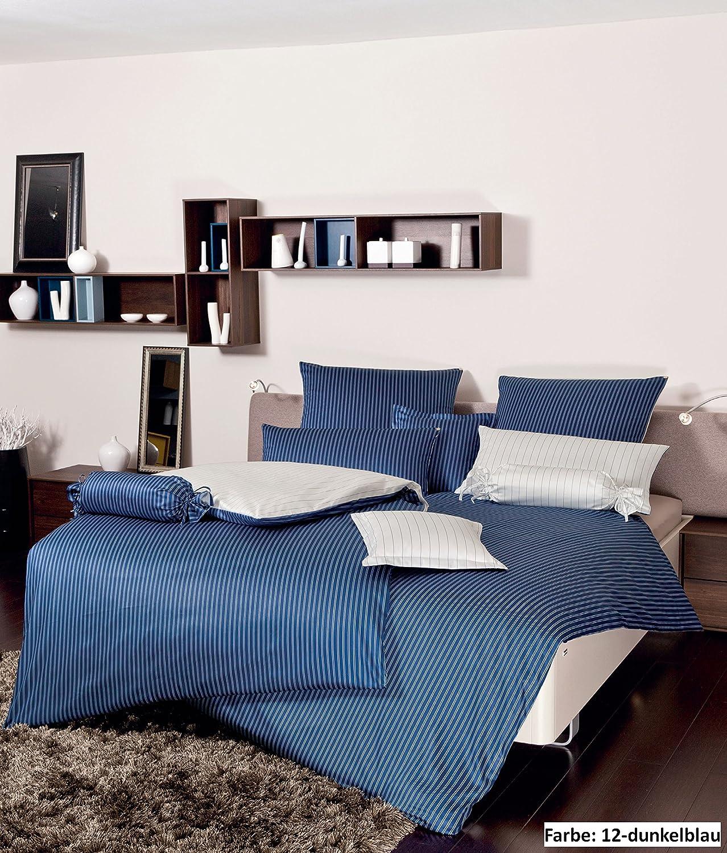 Janine Mako-Satin Wendebettwäsche modernclassic, 3936 dunkelblau, 240x220 + 2 x 80x80
