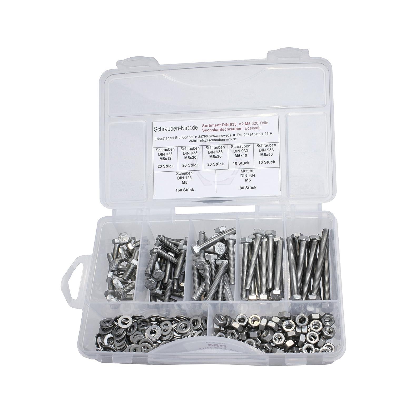 Sortiment Edelstahl V2A Schrauben DIN 933 Nirosta Muttern sechskant DIN 934 und Scheiben DIN 125 VA bzw 200 Teile Sechskantschrauben mit Gewinde bis Kopf M6 alles in A2