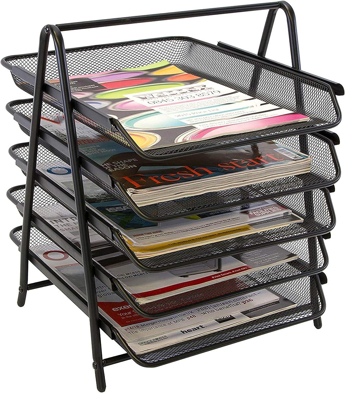 Lightweight 5-Trays Mesh Desk Organizer, Desktop File Holder, Office Supplies Letter Tray, Desktop Storage Rack, Black