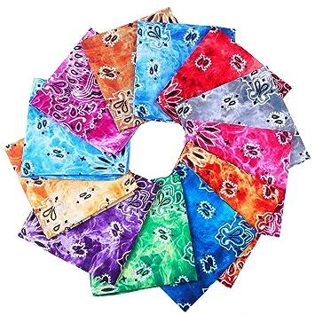 URATOT 16 Pieces Paisley Bandanas Cowboy Bandana Handkerchiefs Paisley Print Head Wrap Scarf Assorted 16 Colors