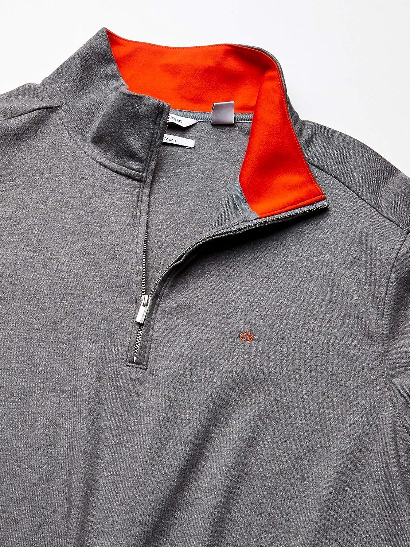 Calvin Klein Classic Quarter Zip Sweater Camisa, Gris Medio, XL ...
