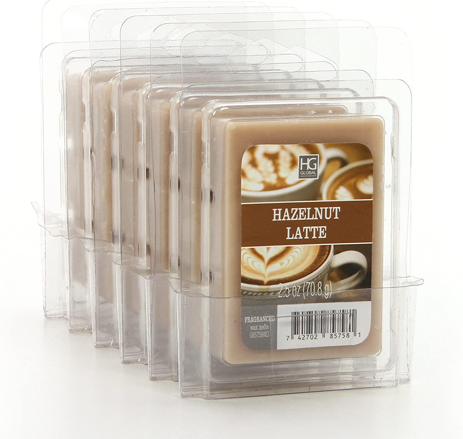 Hosley Set of 6 Hazelnut Latte Wax Cubes 2.5 Ounce Each Hand Poured Wax Infused with Essential Oils Ideal for Weddings Spa Reiki Meditation Settings W1