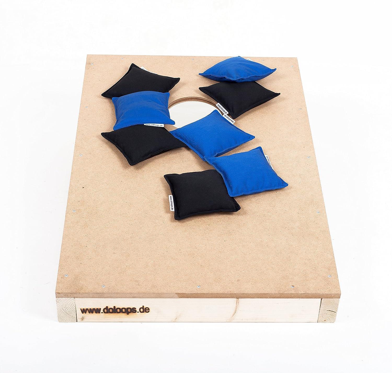 Original Cornhole Spielset - ein Cornhole Board und 8 Cornhole Bags (je 4 schwarze und 4 blaue Cornhole Bags), original deutscher Cornhole Verband Turnierausstattung