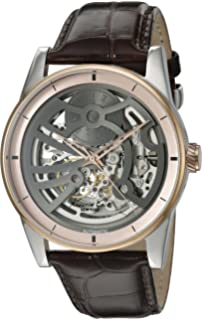 Kenneth Cole New York Mens Automatic Automatic Stainless Steel and Brown Leather Dress Watch