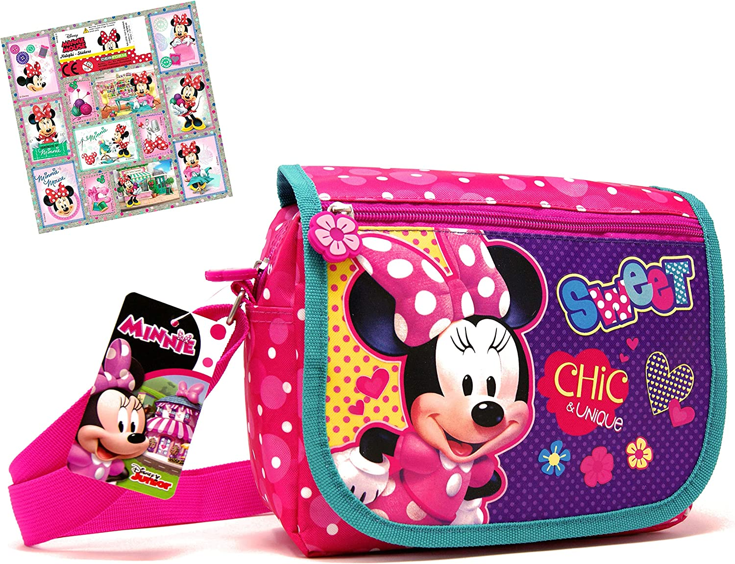 + 12 Stickers Childrens Bag//Shoulder Bag with Extra Zip Front Compartment 23 x 19 x 10 cm Super Childrens Bag Minnie Mouse 2 TLG