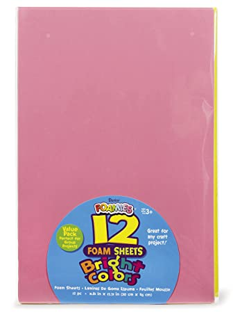 """Darice Foamies Foam Sheets Multipack – Assorted Bright Colors – Great for  Craft Projects with Kids, Classrooms, Camps, Scouts, Parties – 11 8"""" x  17 7"""""""