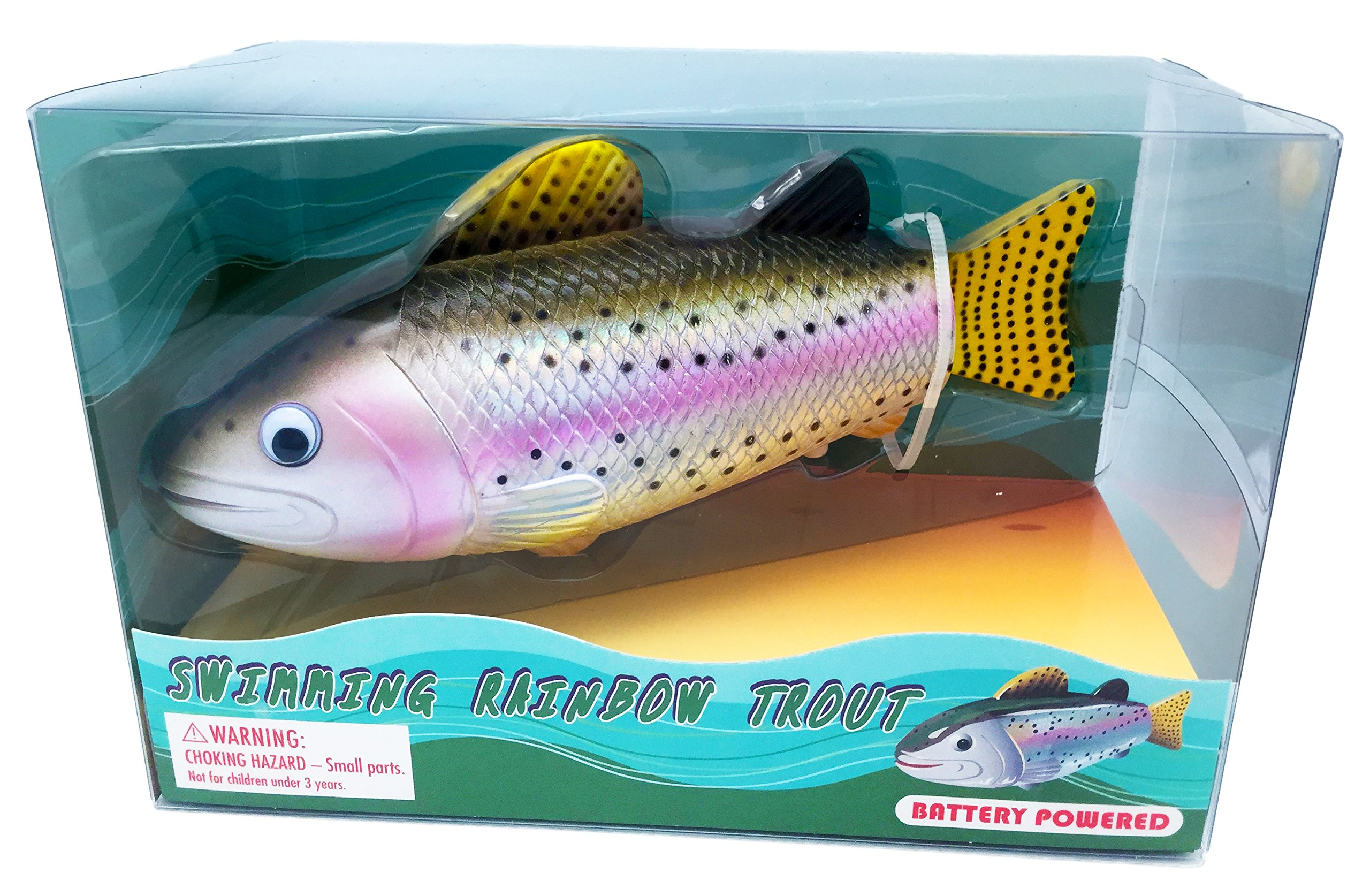 "Rittle Rainbow Trout Realistic Swimming Fish Water Pool & Bath Toy 8"" (Batter.. 12"