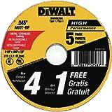DEWALT ACCESSORIES DW8062B5 DEWALT 4-1/2-Inch by 0.045-Inch Metal and Stainless Cutting Wheel, 7/8-Inch Arbor, 5-Pack