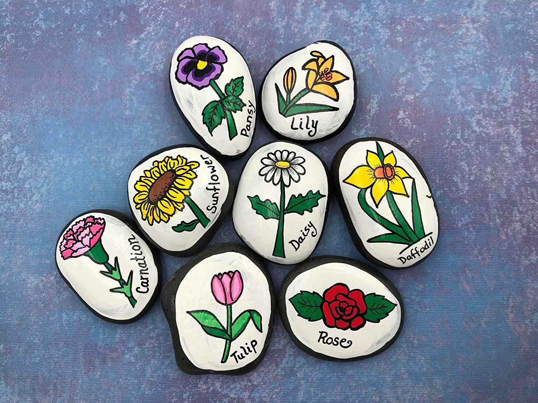 Flower Garden Markers Stones for Gardening Painted Rocks