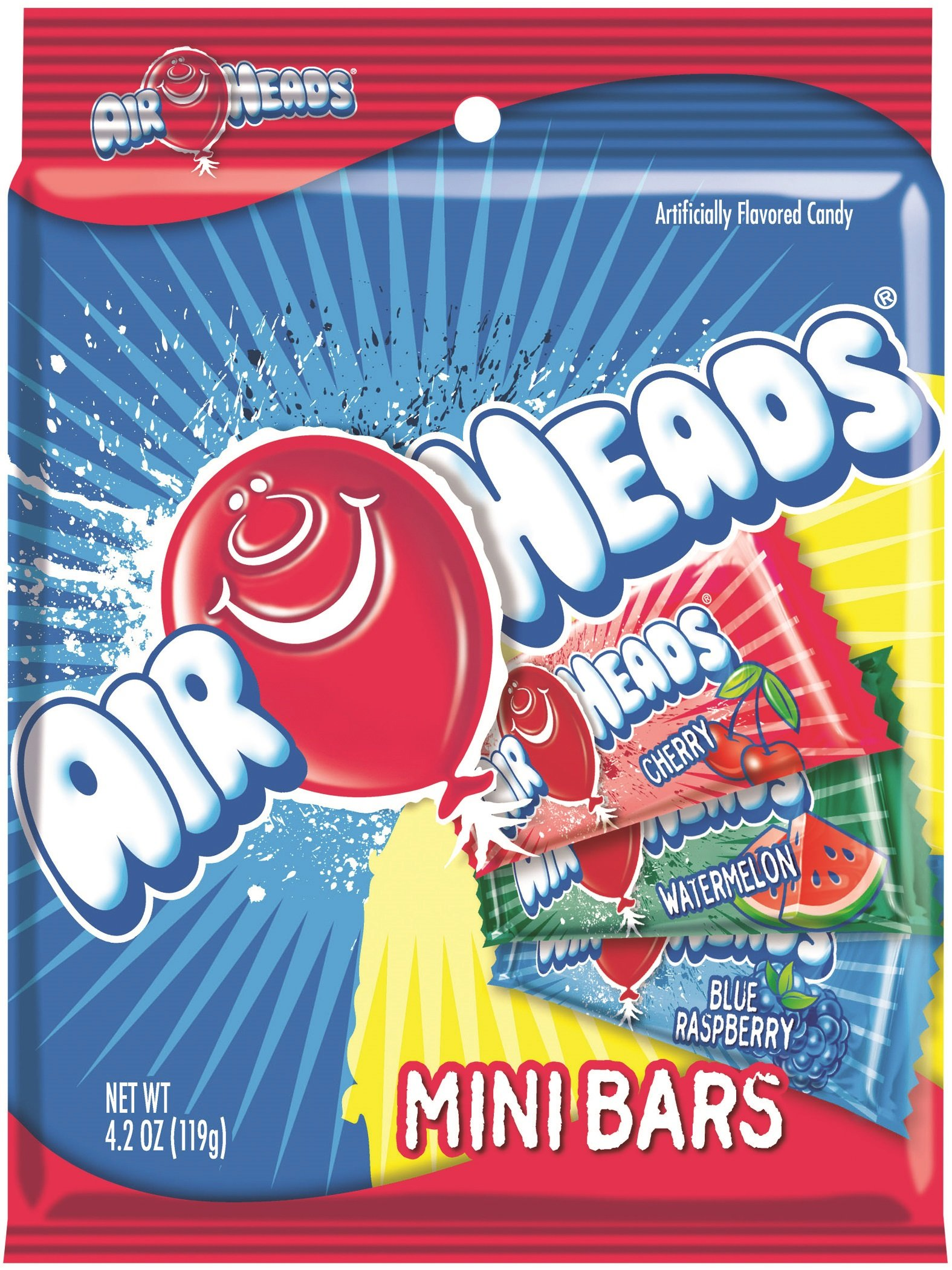 AirHeads Candy Variety Bag, Individually Wrapped Assorted Fruit Mini Bars, Non Melting, 4.2 Ounce