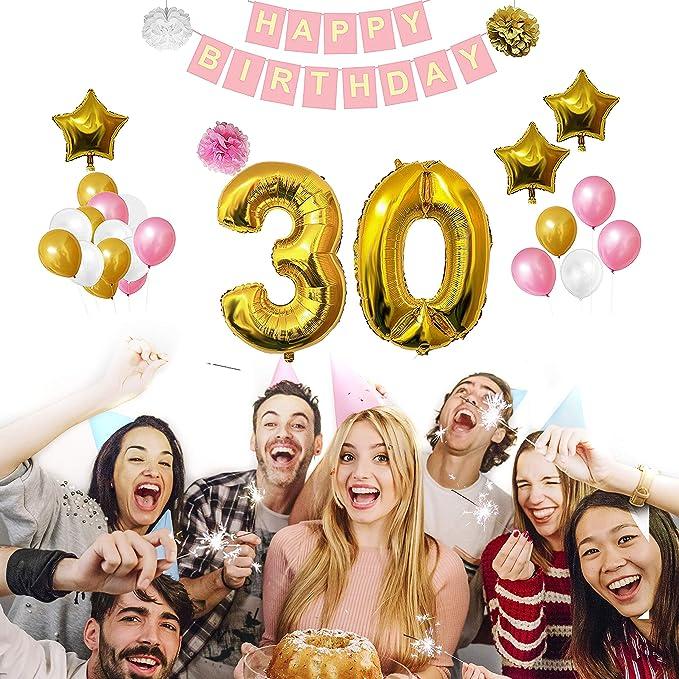 30 Cumpleaños Decoracion - Globos de Cumpleaños Guirnalda - Set 32 Piezas - Globo Grande Aluminio de 30,5cms - Globos De Látex Dorado, Blanco y Rosa - ...