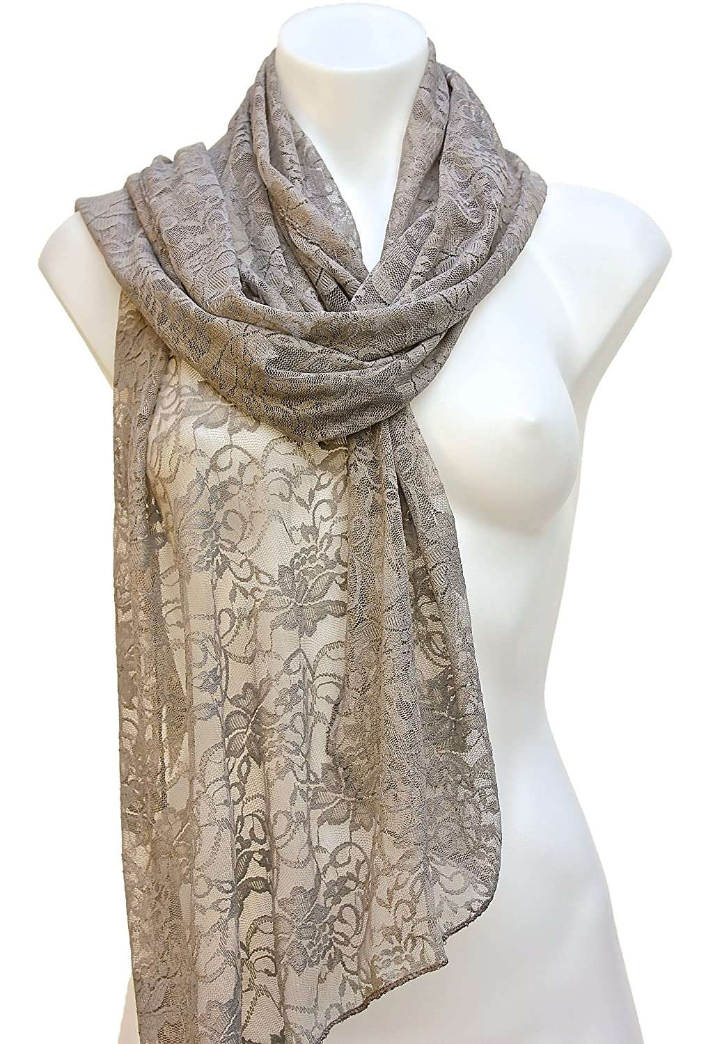 Terra Nomad Women's/Girls Long Sheer Lace Scarf - Sand