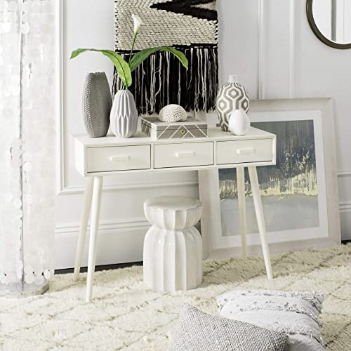 Safavieh Home Collection Albus Distressed White 3 Drawer Console Table, Antique