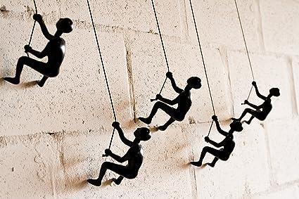 Climbing Man Escultura para Pared de Hombre Escalador, 5 Unidades, Color Negro