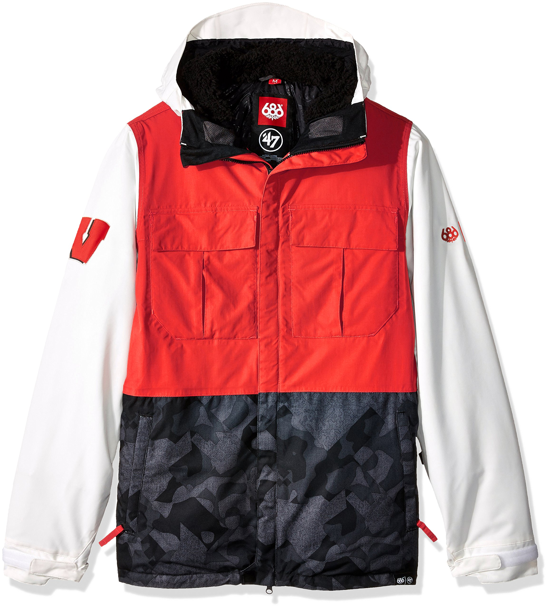 686x47 NCAA Wisconsin Badgers Men's Victory Insulated Jacket, Small, Wisconsin Red