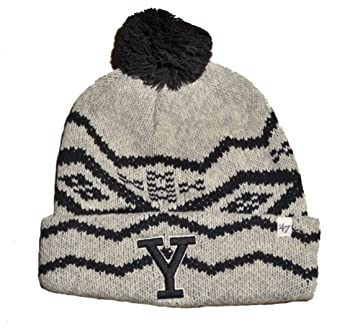 993a7fd8993 Yale Bulldogs Gray Cuff  quot Brookfield quot  Beanie Hat with Pom - NCAA  Cuffed Winter