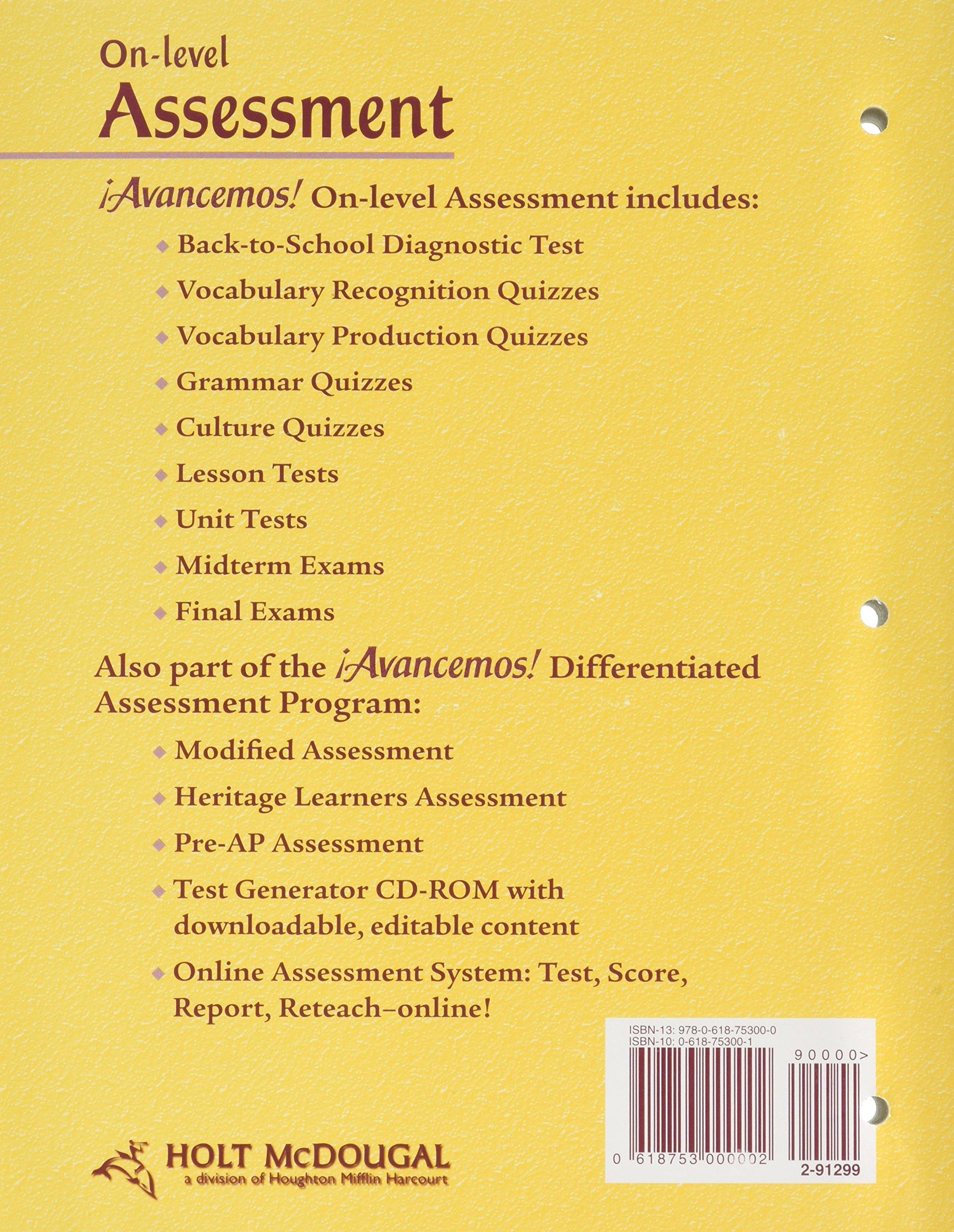 Avancemos! (On-level Assessment, 2 dos): McDougal Littell