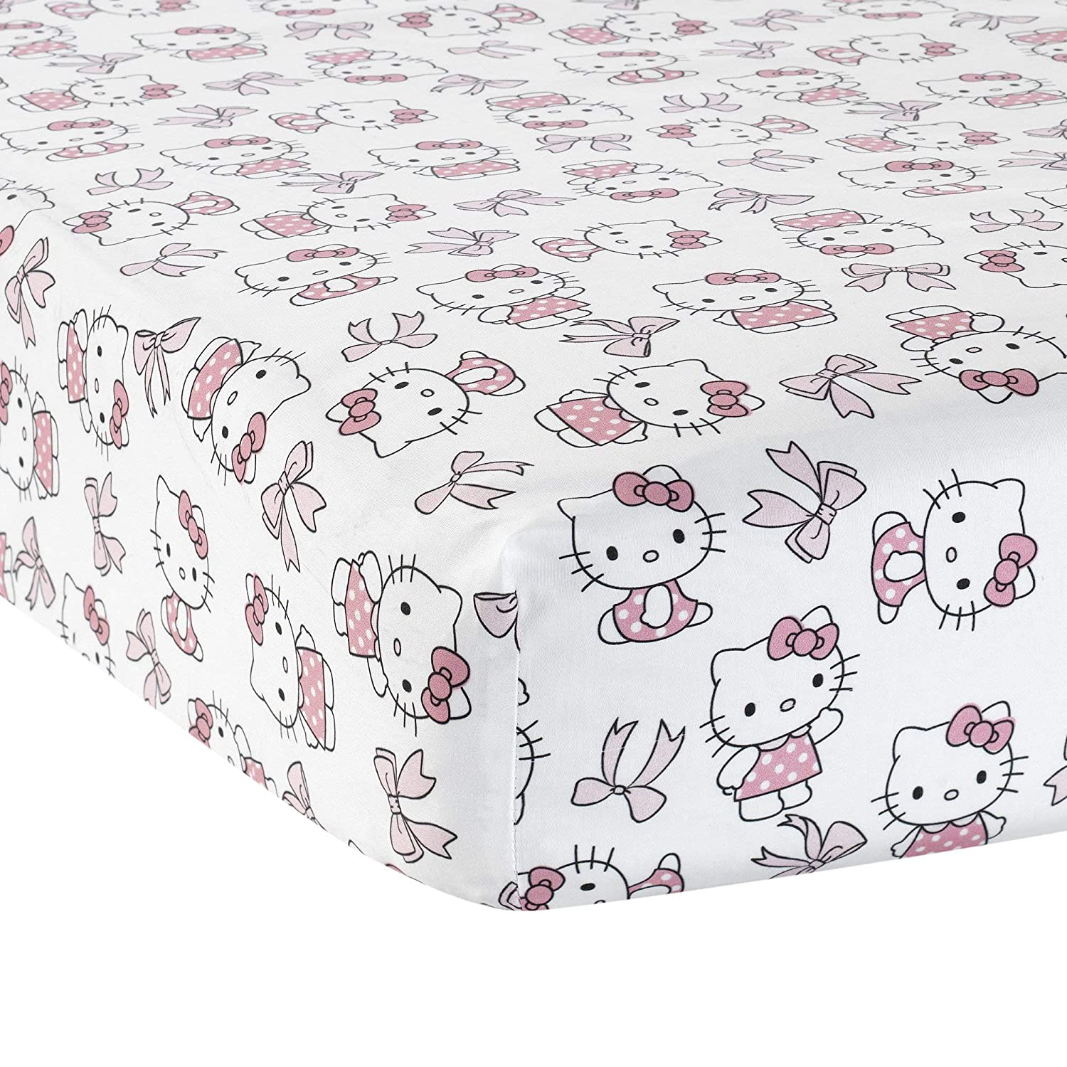 Bedtime Originals Hello Kitty Luv Bow Fitted Crib Sheet, Pink/White
