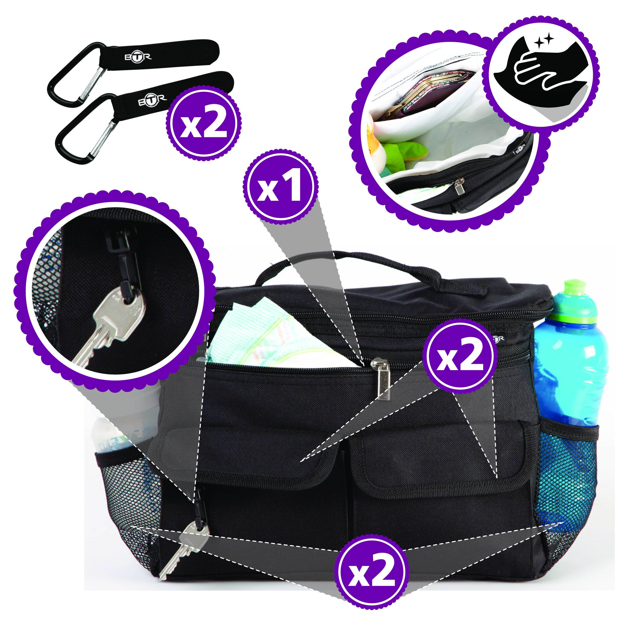 BTR Stroller Organizer with Stroller Hooks x 2. Baby and Pushchair Accessory That Fits Most Buggies, Prams and Strollers. by BTR (Image #3)
