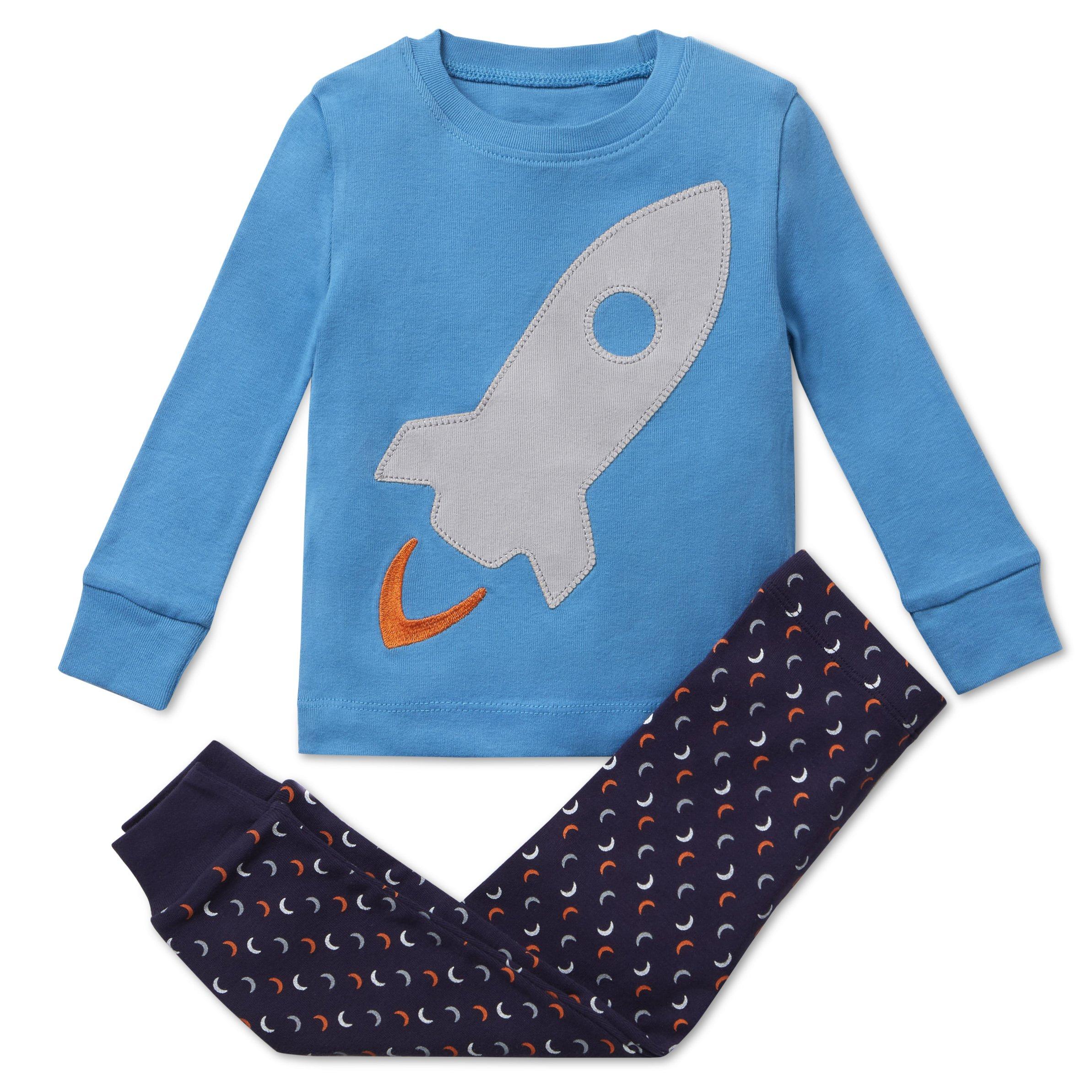 Bluenido Boys Pajamas Rocket 2 Piece 100% Super Soft Cotton (12m-8y)