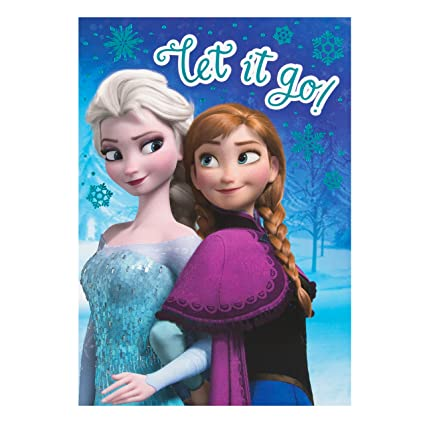 Amazon Disney Frozen Elsa And Anna Birthday Card Let It Go