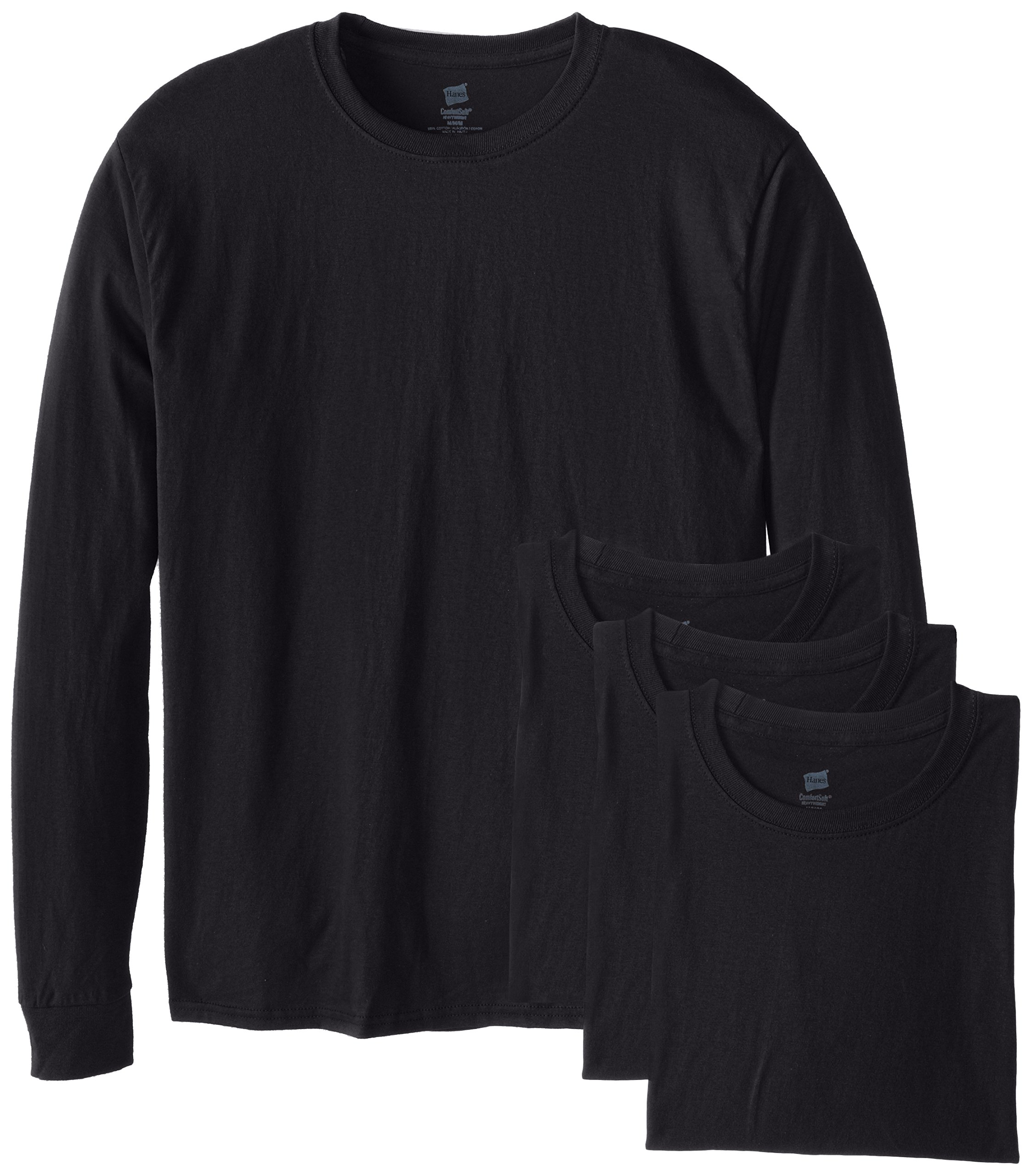 Hanes Men's 4 Pack Long Sleeve Comfortsoft T-Shirt, Black, 3X-Large by Hanes