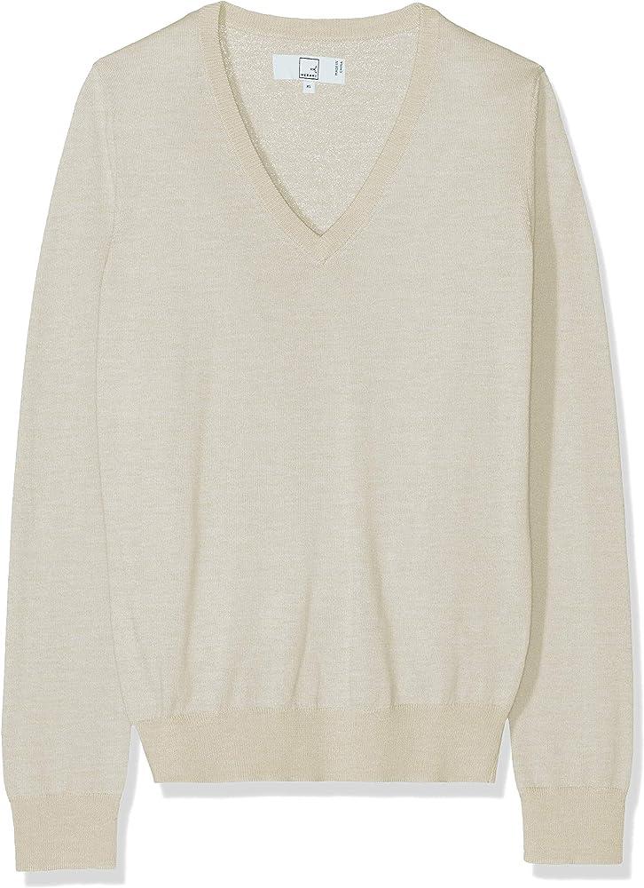 Slim Fit Brand Meraki Mens Fine Knit Merino Wool V-Neck Sweater
