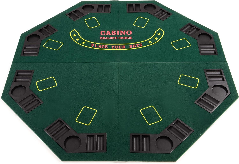 Pokertisch Auflage Poker Tisch faltbar achteckig 8 Spieler+Tasche+Getränkehalter
