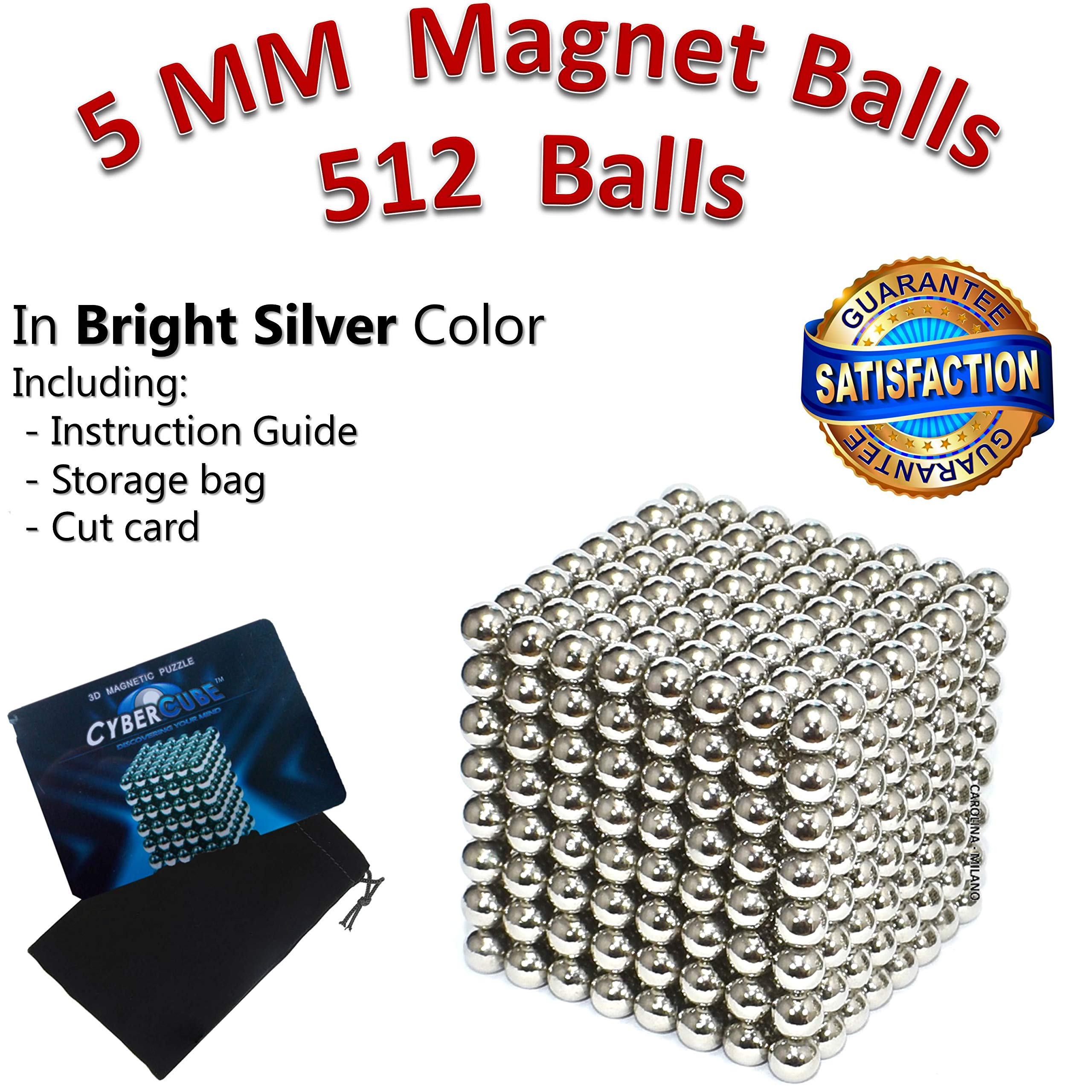 512 pieces Large 5mm Magnetic Balls Building Blocks Sculpture Magnets Educational game Office Magnet Toy Intelligence Development Stress Relief Imagination gift family (set of 216pcs x2 + 80 balls) by CAROLINA MILANO (Image #1)