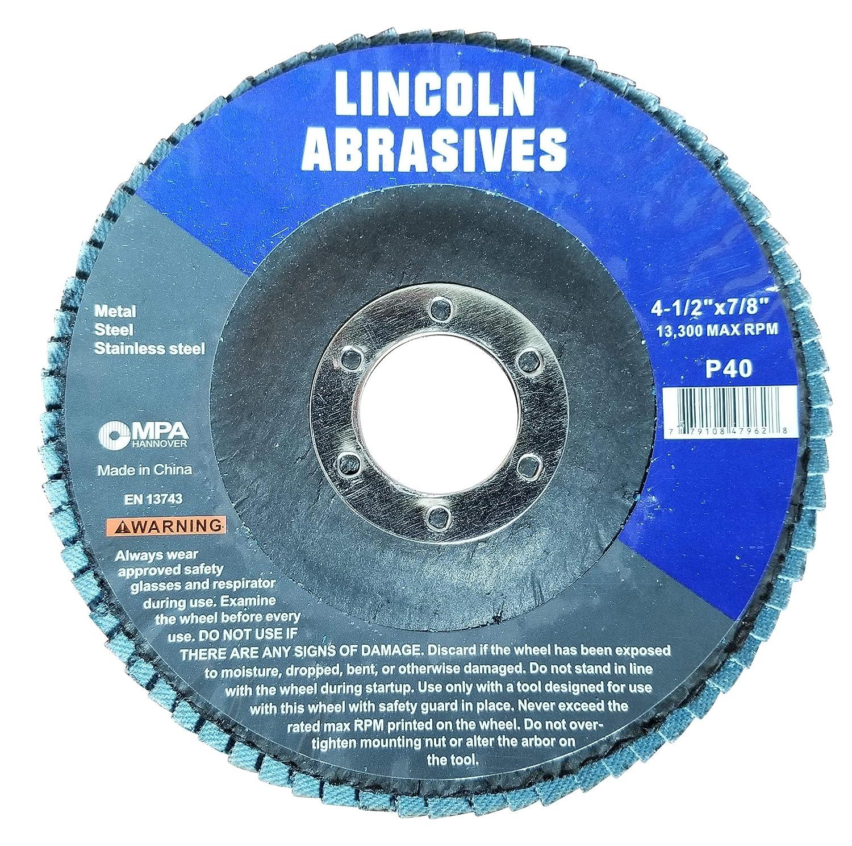 100 Pack Flap Discs 40 Grit 4.5 x 7//8 Sanding Wheels
