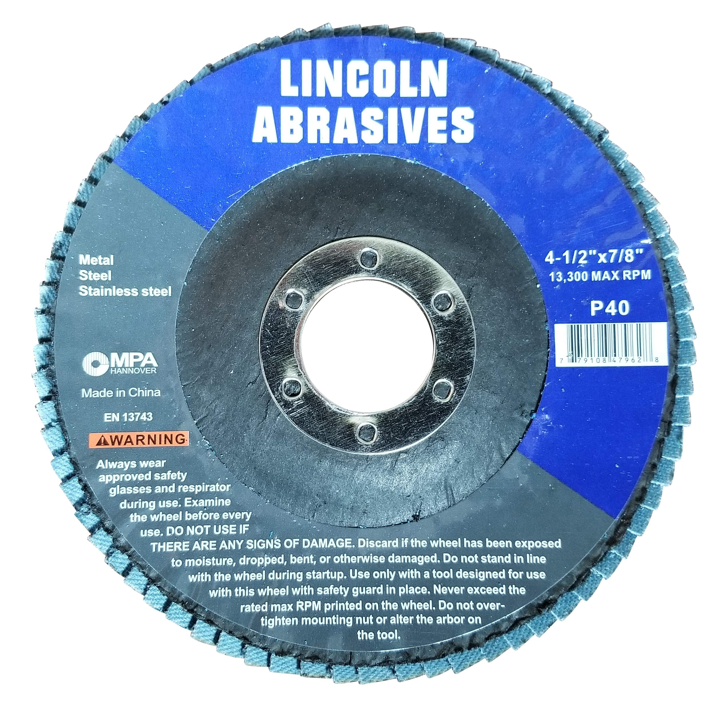 100 Pack Flap Discs 40 Grit 4.5'' x 7/8'' Sanding Wheels by Lincoln Abrasives (Image #2)