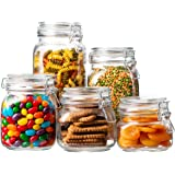EatNeat Set of 5 Clear Glass Kitchen Canisters and Canning Jars with Airtight Bail & Trigger Hermetic Seal Clear Glass Lids