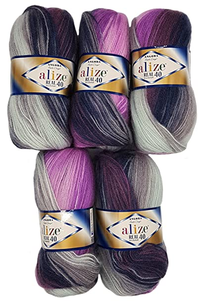 Alize Real 40, 5 gomitoli di lana da 100 g ciascuno, 500 g in totale,  filato in 40% lana, multicolore, colori vari - Beere Grau Wei? 4760