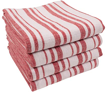 Terry Cloth Kitchen Towels.Kaf Home York Casserole Stripe Reversible Terry Cloth Kitchen Towels Set Of 4 100 Cotton Absorbent And Function Kitchen Utility Towels Red