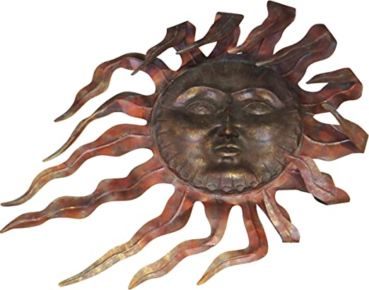 Sun Outdoor Wall Decor Metal Copper Finish Hanging Art Weather Resistant Brass