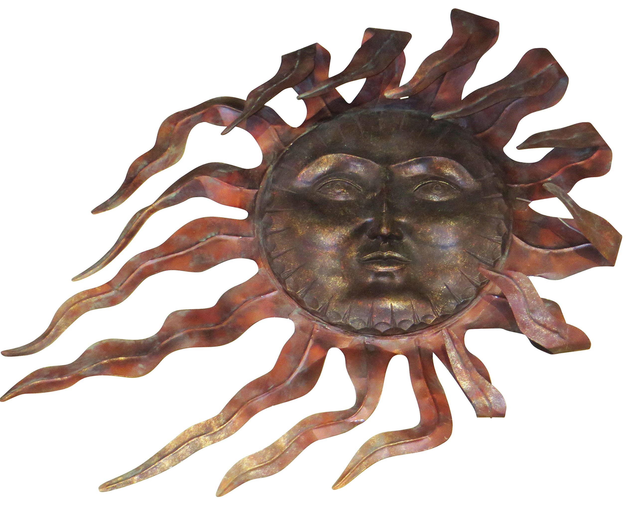 Luxe Large Outdoor COPPER SUN Wall Art Decor Plaque Patio Garden Metal