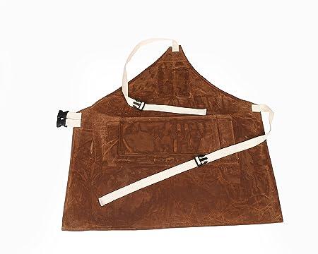 Delantal de trabajo, HSW - 092, ajustable, de tela encerada, bolsillo para almacenar herramientas, para tareas de jardinería, barbacoa, tallado de madera, ...