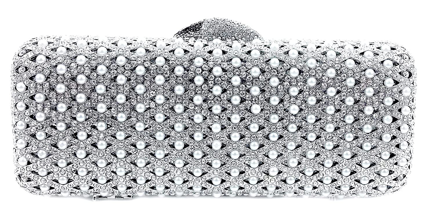 """Papeete"" Pearl & Diamond Studded Clutch Purse. Swarovski Crystals, 10"" chain, Hard Case, Leather Lined."