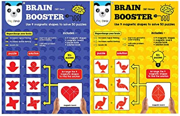 Play Panda Brain Booster Type 2 - 56 Puzzles Designed to Boost Intelligence - with Magnetic Shapes, & Brain Booster Type 3 - 56 Puzzles Designed to Boost Intelligence - with Magnetic Shapes, Combo