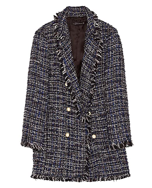 289427e4 Zara Women Long tweed jacket with pearl beads 7772/604 (X-Large ...