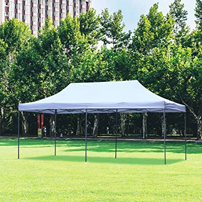 DOIT 10ft x 20ft Pop Up Canopy Tent Gazebo for Party or Camping, Portable Wheeled Carrying Bag, White : Garden & Outdoor