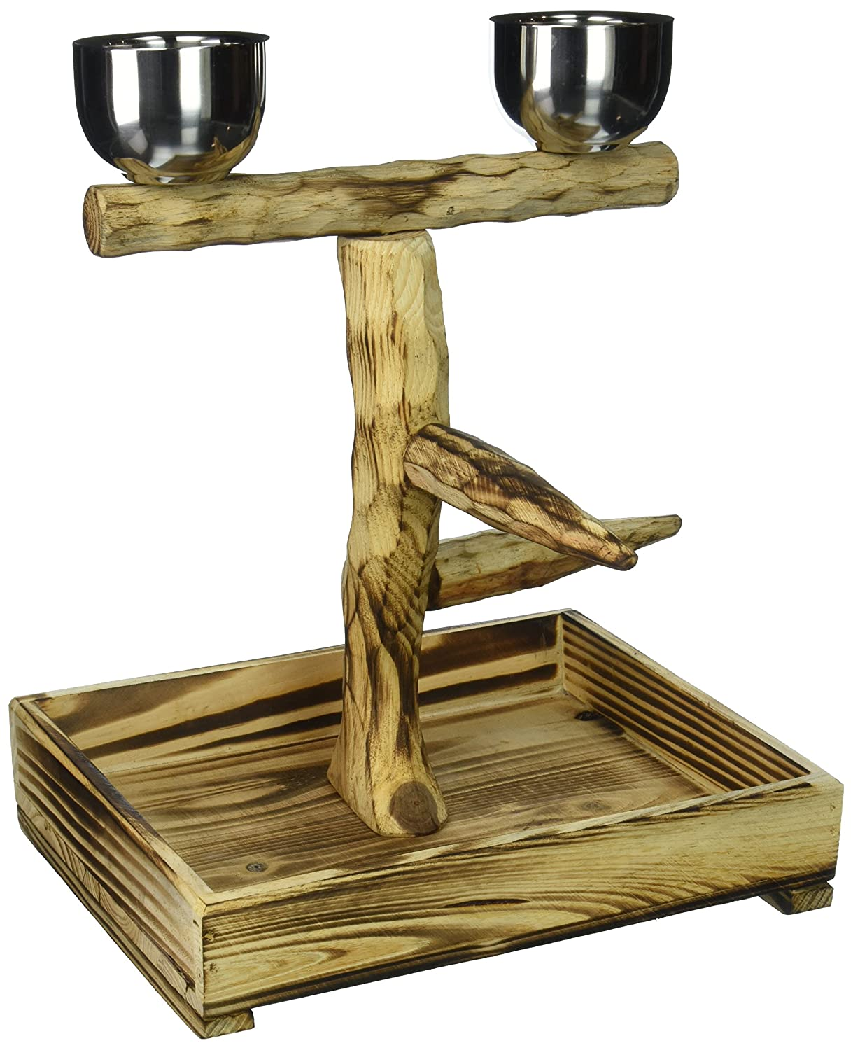 "Penn Plax Bird Perch With 2 Stainless Steel Feeding Cups and Wood Drop Tray (10.5"" X 8.9"" X 11.75"")"
