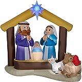 LightShow Airblown Inflatable Kaleidoscope Nativity Scene Outdoor Decoration