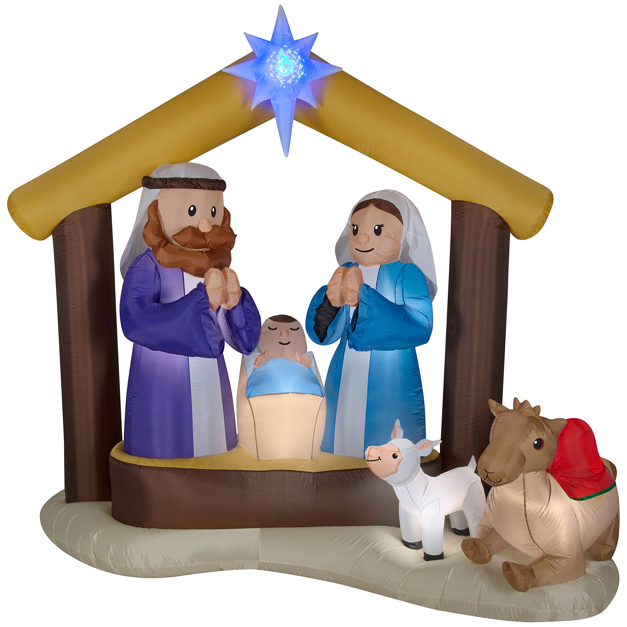 LightShow Airblown Inflatable Kaleidoscope Nativity Scene Outdoor Decoration by Gemmy