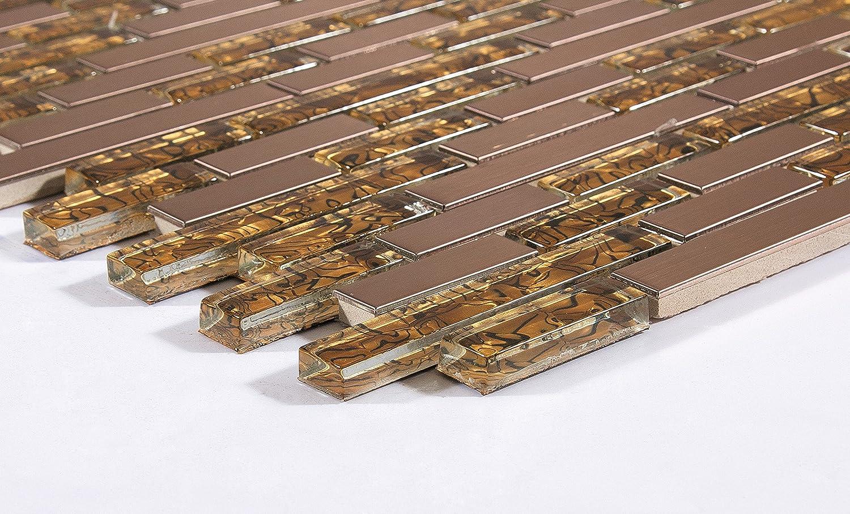 10 cm x 10 cm Patró n Cristal y cepillado acero inoxidable mosaico pared azulejos hojas oro y cobre (mt0169 patró n) GTDE