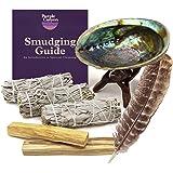 PURPLE CANYON Smudge Kit (Beginner's Gift Set) - 3 White Sage Smudge Sticks, 2 Palo Santo, Abalone Shell, Smudge Feather…