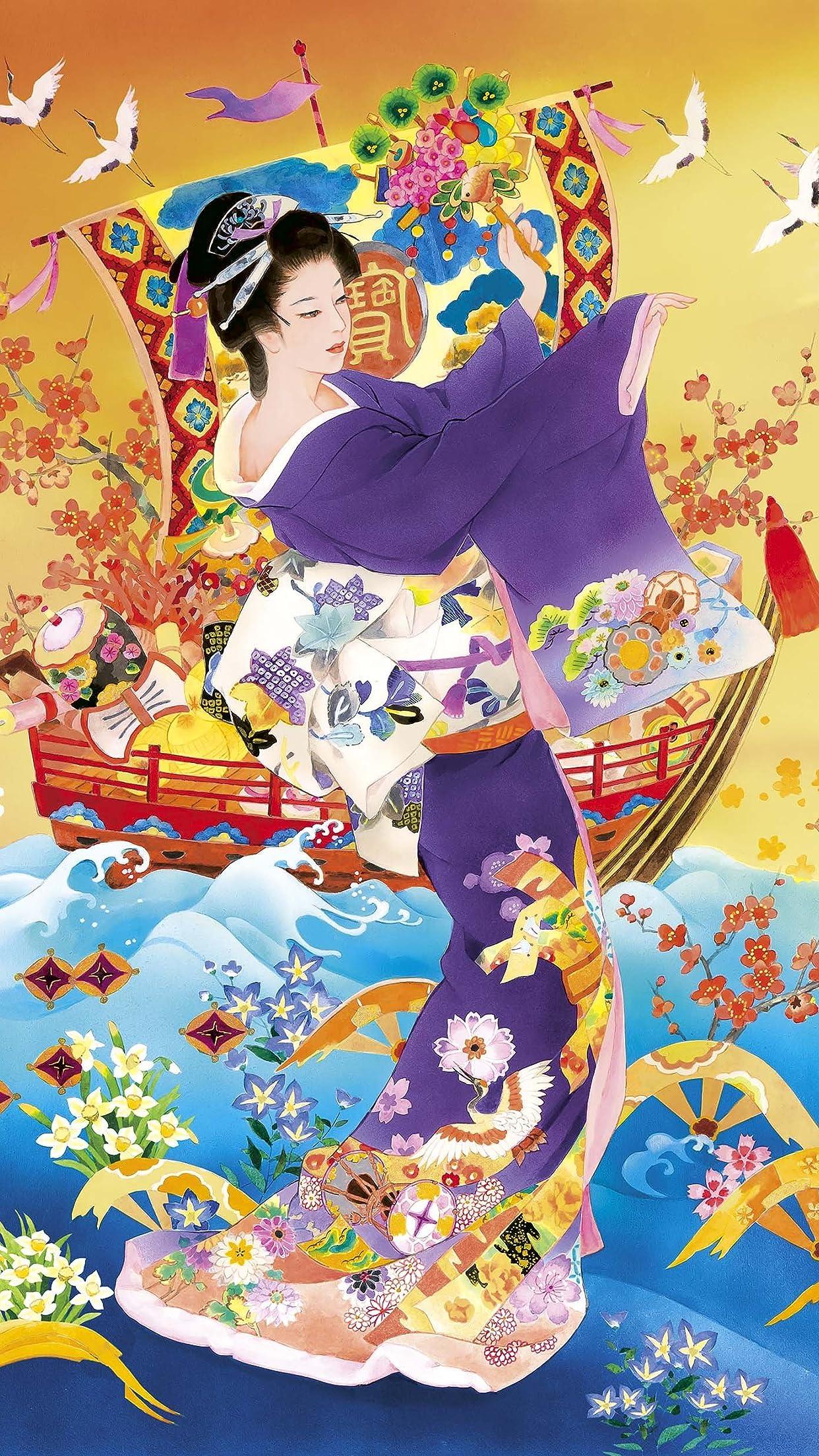 日本画 『招福の舞』 美人画 森田春代 iPhone8,7,6 Plus 壁紙(1242×2208)画像